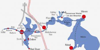 Übersicht der Routen auf der Mecklenburger Seenplatte